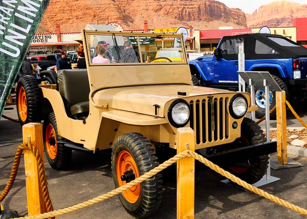 1945 Jeep CJ-2A carries over many of the WWII MB's features. Shown is a stellar restoration at the Jeep/Mopar Pavillion, Moab, Utah.