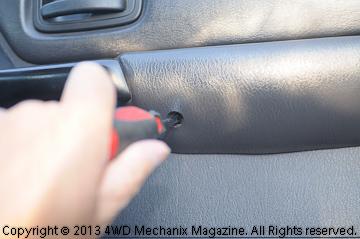 Door arm rest and handle screws