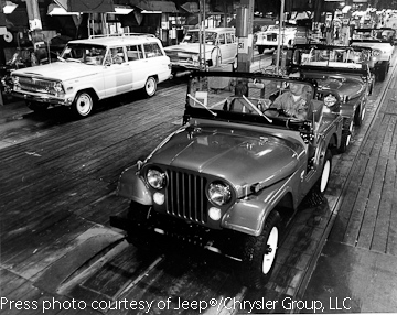 Jeep CJ running down parallel line to the full-size Wagoneer