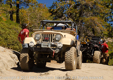 A CJ-7 Jeep exiting the Rubicon with an MB in tow—2010.