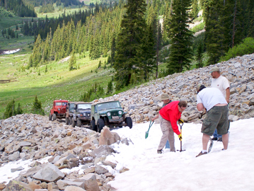Mile-Hi Jeep Club members open trails early in the season.
