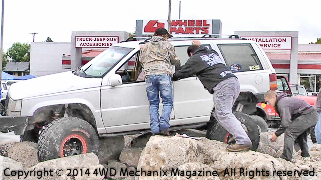 Grand Cherokee on the rockpile at 4Wheel Parts Store!