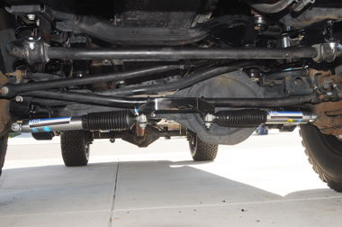 Magazine's '05 Ram 3500 lift included a track bar relocation (drop) bracket.