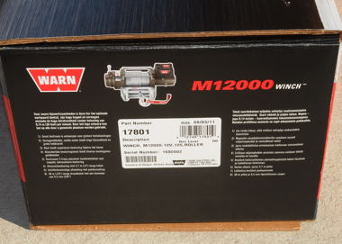 Warn M12000 winch, with single line rating of 12,000 pounds!