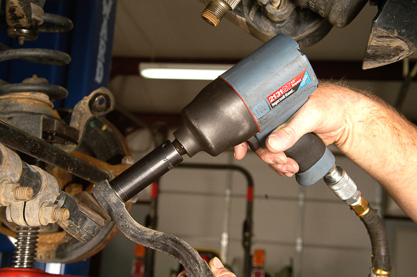Removal of tie-rod end with proper tools.