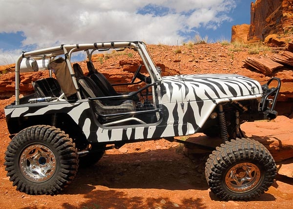 Troy's zebra-striped Jeep YJ Wrangler at Moab!