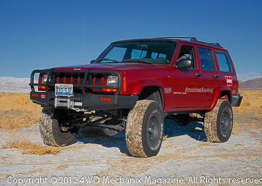 The magazine's XJ Cherokee at northern Nevada's high desert in winter. Snows contribute to grasses in spring and summer.