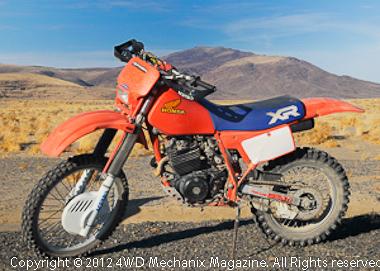The magazine's XR350R Honda dirt motorcycle